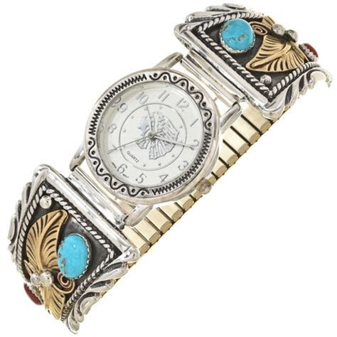 Navajo Mens Turquoise Coral Watch 28917