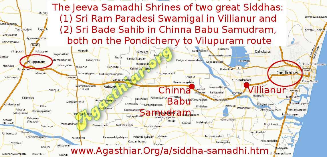 MAP: Siddha Ram Paradesi Swamigal and Bade Sahib Siddha