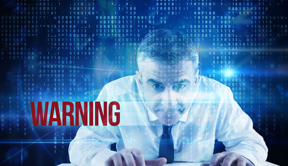 The word warning and mature businessman typing on keyboard against blue technology interface with binary code
