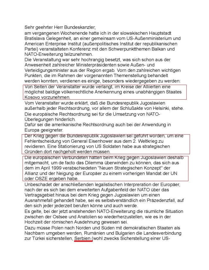 Писмо Вилија Вимера Герхарду Шредеру, стр. 1