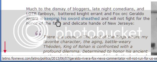 The link to the news story about Geraldo begins latino.foxnews.com/latino/