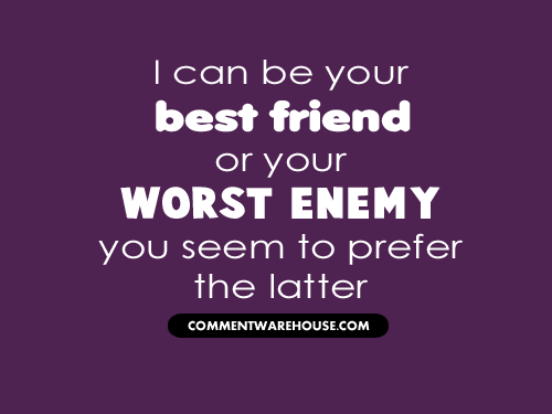 I Can Be Your Best Friend Or Your Worst Enemy Commentwarehouse