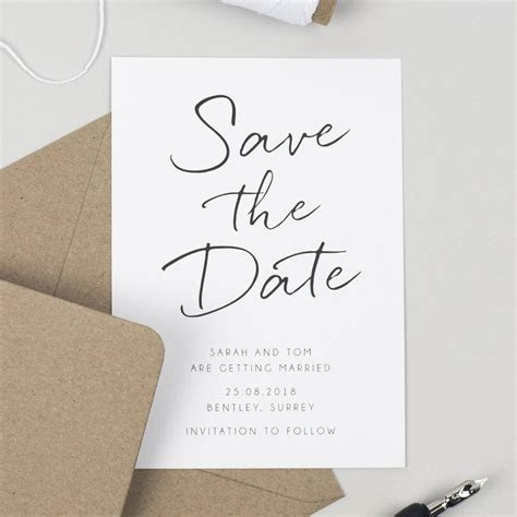 minimalist save the date card by pear paper co