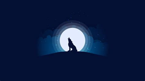 wallpaper wolf moon silhouette illustration hd
