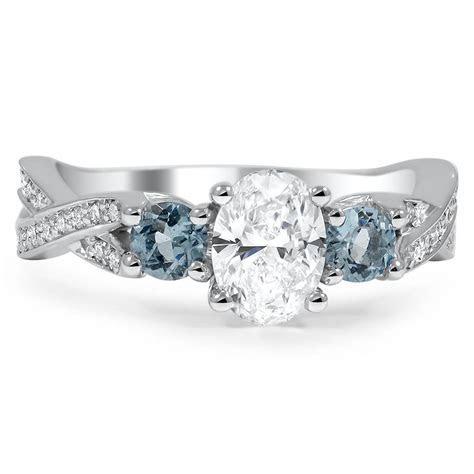 Custom Three Stone Twisted Diamond Engagement Ring with