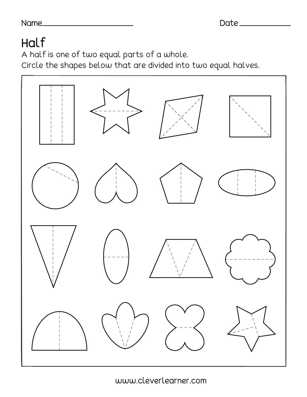 Fun Activity On Fractions Half 1 2 Worksheets For Children