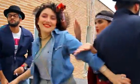 Screengrab from the video of young Iranians dancing to Happy by Pharrell Williams