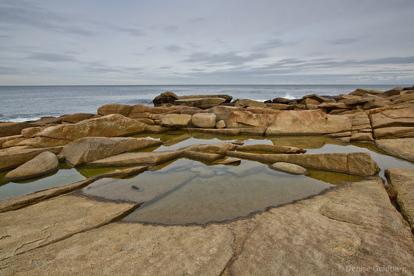 patterns, pools of water on rock with an ocean background