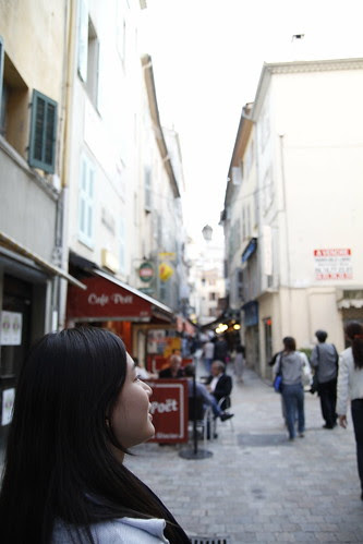 Looking at the street of Cannes