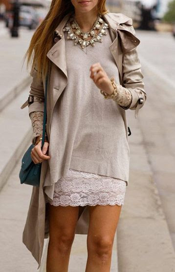trench + sweater + statement necklace  http://www.missesdressy.com/blog/statement-necklaces.html