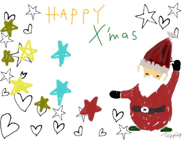 クリスマスのフリー素材ポップなサンタクロースと水玉とhappyxmasの