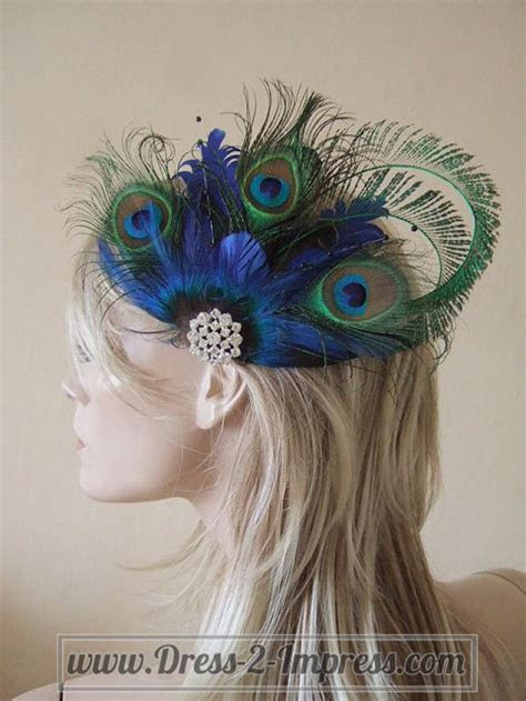 Bridal Peacock Feathers And Crystal Brooch Blue Green Clip
