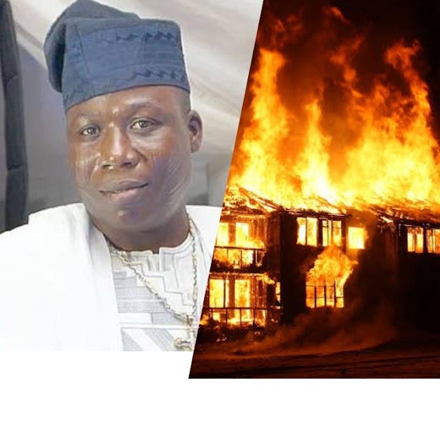 BREAKING!! Popular Yoruba Activist Sunday Igboho's House Set On Fire By Suspected Fulani Herdsmen (See Photos)