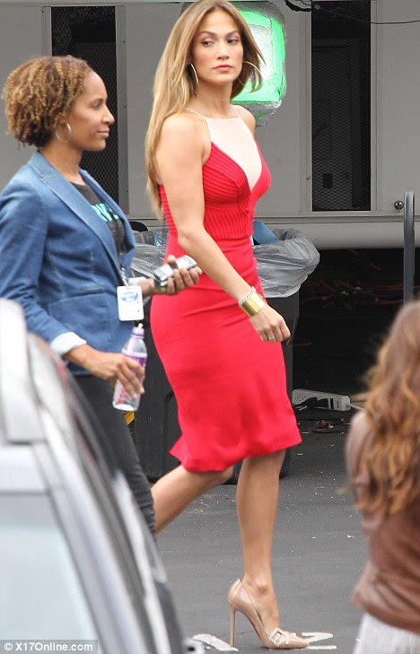 Heely good show: J-Lo looked focused and sombre as she left her trailer at the studios before the start of tonight's show