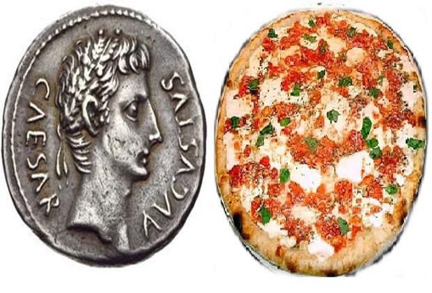 Pizza e moneta romana