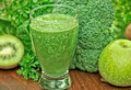 Green smoothie green juice organic Stock Photos
