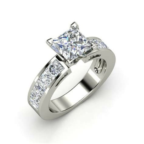 2.00CT PRINCESS SHAPE CHANNEL SOLITAIRE ENGAGEMENT RING IN
