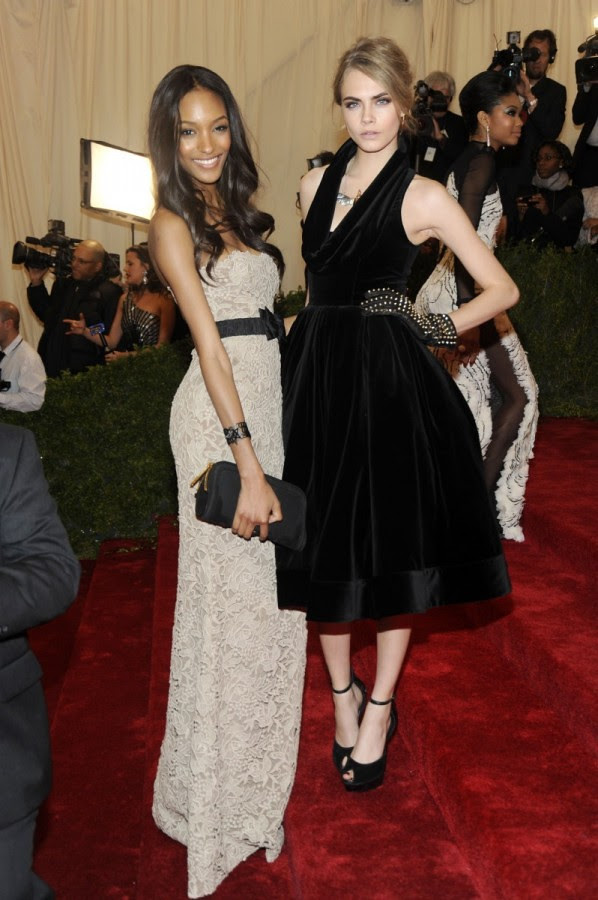 1 - Cara Delevingne and Jourdan Dunn wearing Burberry to The Metropolitan Museum of Art 2012 Costume Institute Benefit in NY, 07.05.12