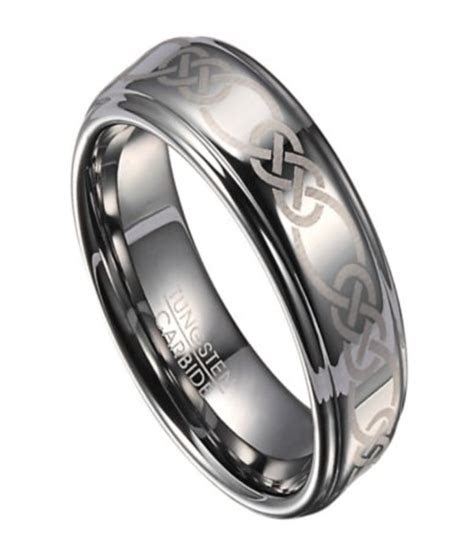 mens tungsten wedding ring  celtic knot design