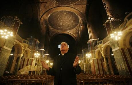 Cardinal Cormac Murphy-O'Connor stands inside Westminster Cathedral, London, after launching a £3 million appeal to fund major restoration work including urgent repairs to the cathedral domes, heating and electrical systems. January 17, 2008.