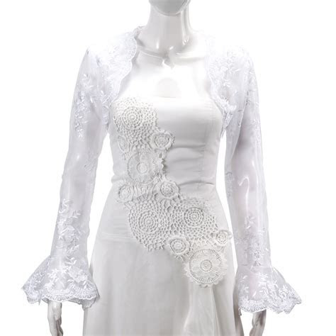 Bridal Wedding Long Sleeve Lace Jacket Bolero Shrug Dress