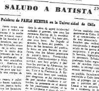Fragmento del SALUDO A BATISTA de Neruda.