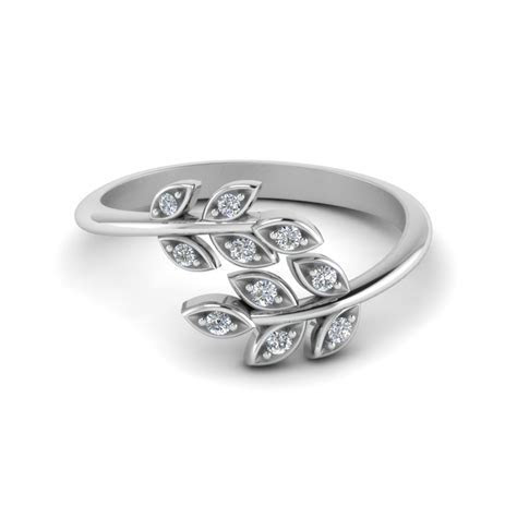Open Leaf Diamond Band In 14K Yellow Gold   Fascinating