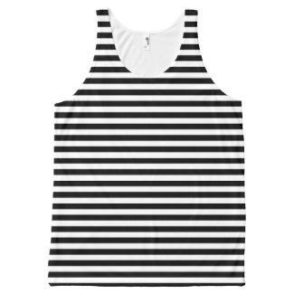 Unisex Tank Top with Black and White Stripes All-Over Print Tank Top