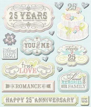 3D 25th Anniversary Stickers Wedding Stickers Scrapbooking