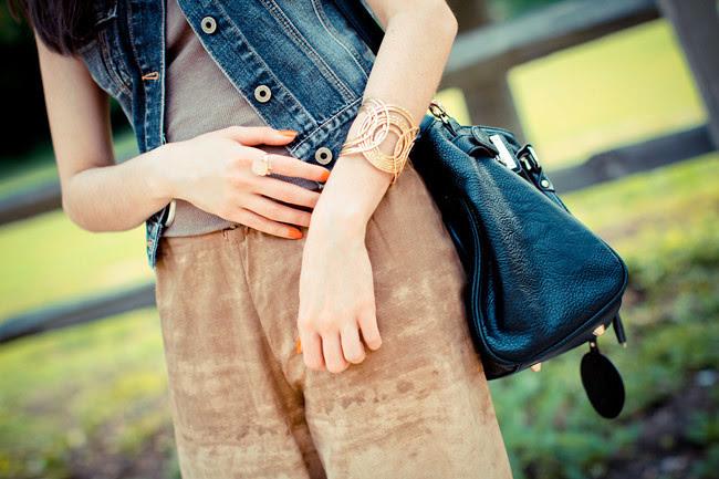 Palazzo pants, Fashion outfit, Guess denim vest, Ann Taylor Loft gold cuff jewelry, Paddington bag, Wedges