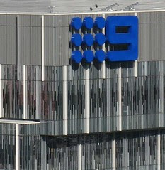 Channel 9 logo on 717 Bourke Street, Docklands, Melbourme