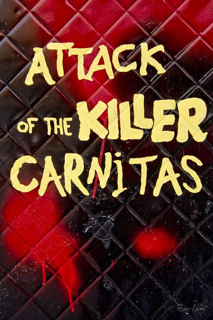 Attack of the Killer Carnitas food truck sign