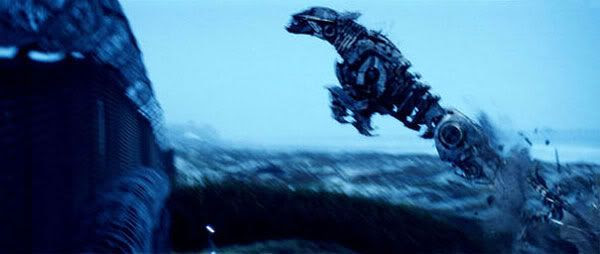 Ravage, one of Soundwave's minions, leaps from the ground.