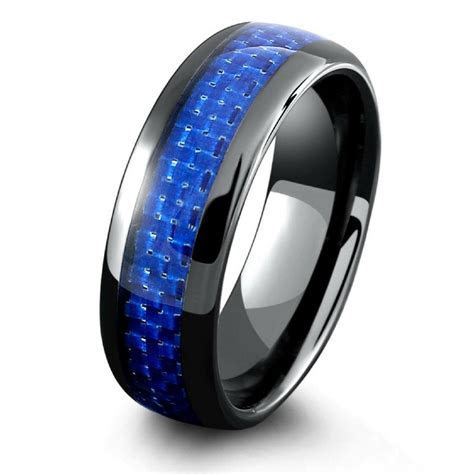 Mens Black Ceramic Wedding Band With Blue Woven Carbon