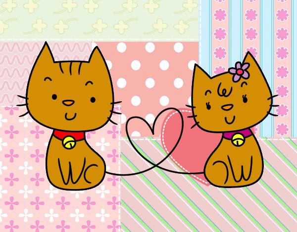 Dibujo De Gatitos Enamorados Pintado Por Camila3210 En Dibujos