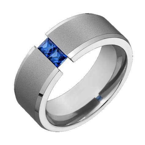 Mens Titanium Wedding Band Blue Sapphire Tension Set