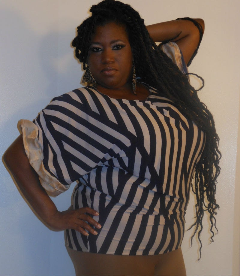 Genette - Posh N Petals Knit Navy Blue and Taupe Abstract Striped Gold Silk  Blouse - XL-1X  Plus Size