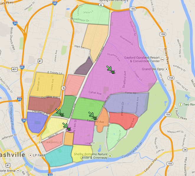 Nashville Neighborhood Map Downtown Nashville Zip Code Map | Campus Map