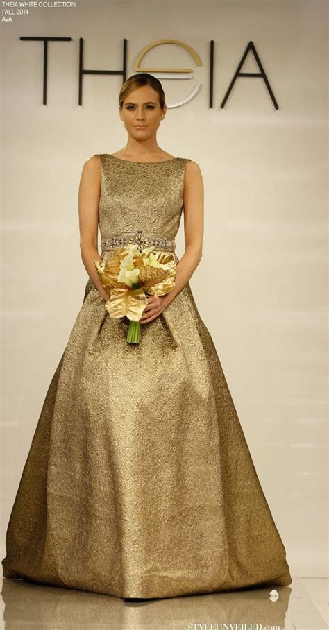 Gold wedding dress with ball gown skirt. And it has
