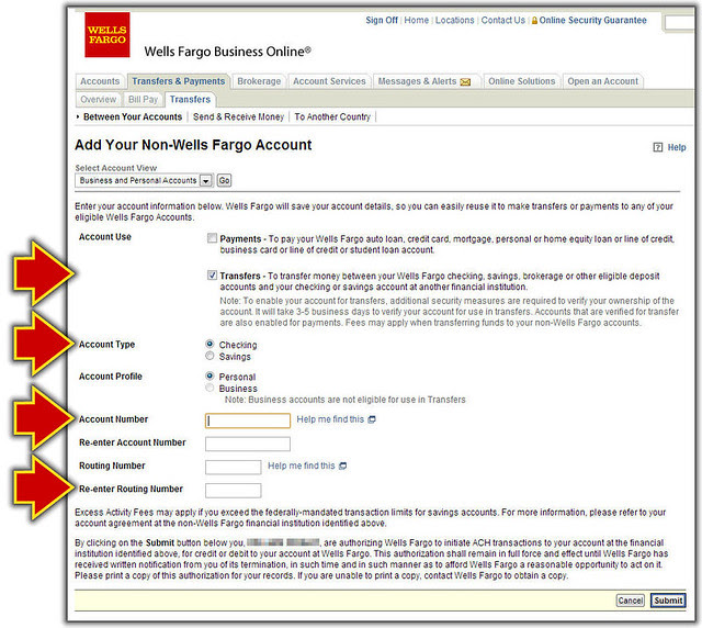 Fill In the Non-Wells Fargo Account Form