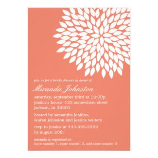 Coral Flower Design Bridal Shower Invitations