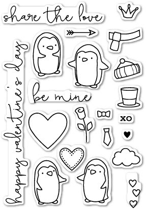 CL417 Be Mine Penguins clear stamp set