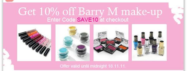 Get 10% off Barry M make-up