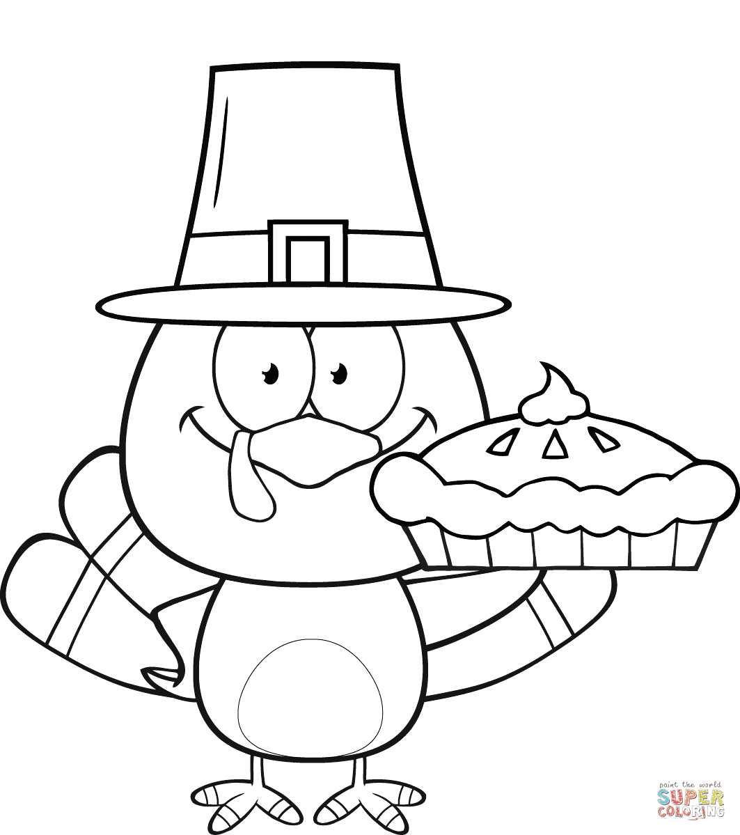Cute Pilgrim Turkey Holding a Pie coloring page   Free ...