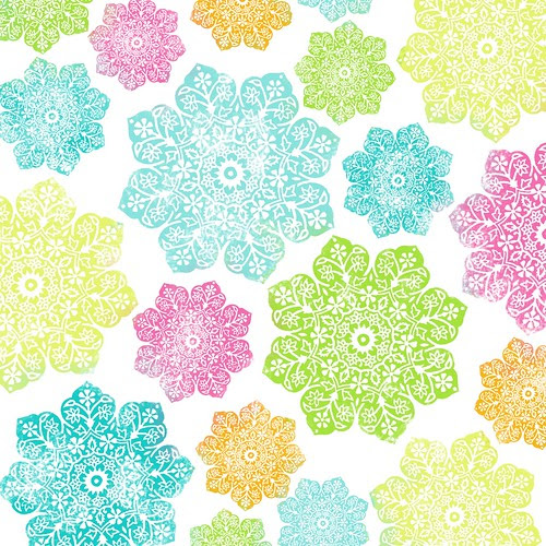 batik flower paper BRIGHT - 12 and a half inch SQ 350dpi mel stampz