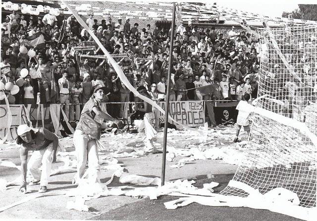 Komandos Verdes en el partido del ascenso a Segunda División C.D. Toledo-Real Jaén temporada 1992/93 © Fotografía de Carlos Monroy