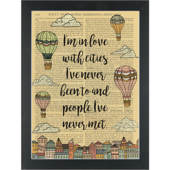 Travel Quote Hot Air Balloons In Love Dictionary Art Print Page Turner