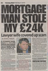 Mortgage Man stole my £24k - Nigel MacFarlane Mortgage Scandal Sunday Mail 070210