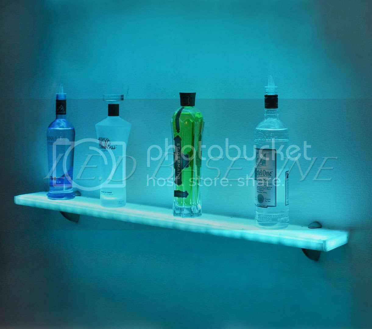 """84"""" LED Lighted Floating Wall Display Shelf Retail Store Home Bar"""