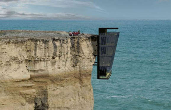 It probably takes someone pretty brave to invest in a property like this, but it certainly is unique. This cliff house by Modscape is just a concept, but it's a five-storey modular home that clings to the side of a cliff along the coast in Australia.